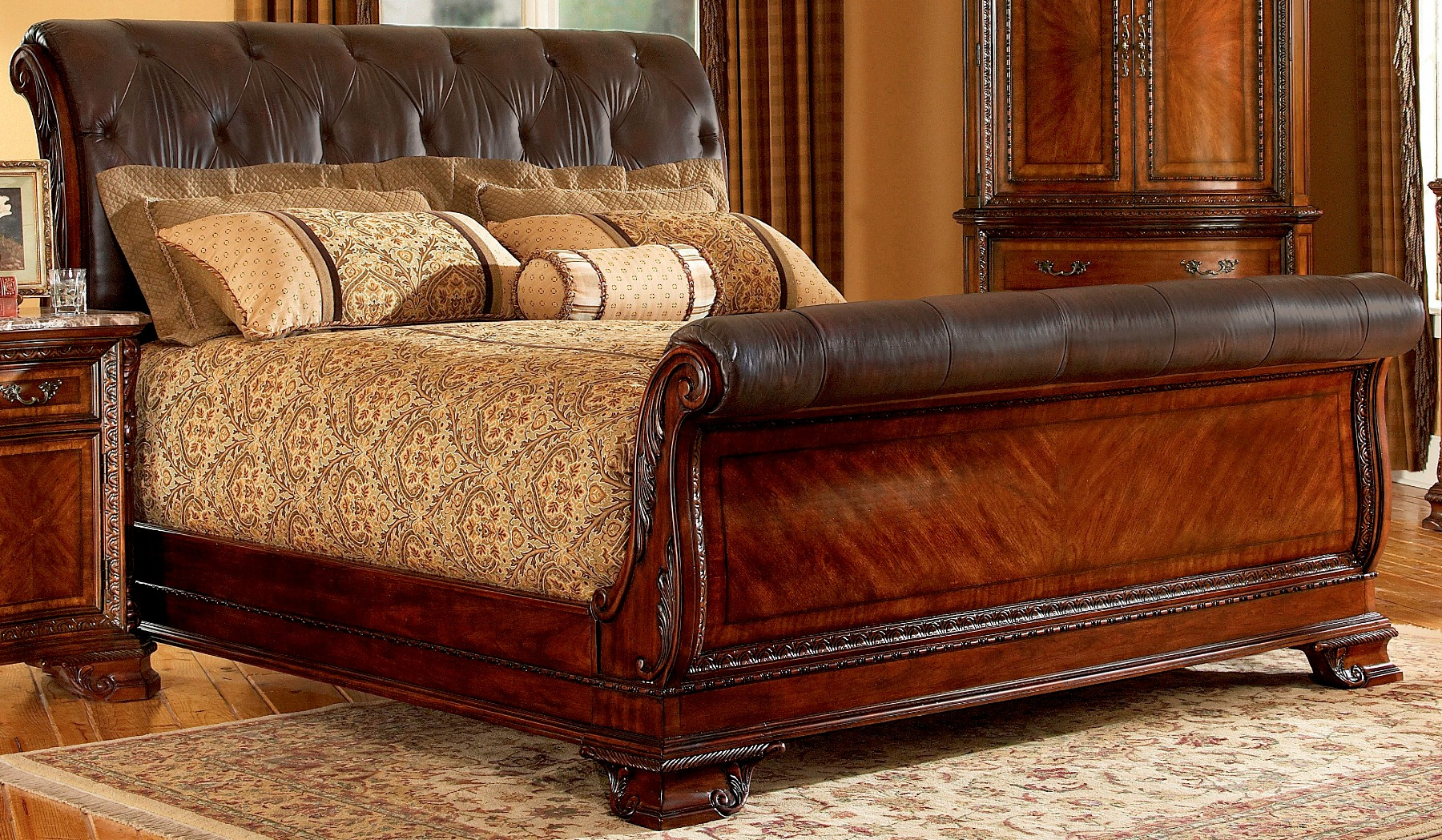 Mesmerizing headboars king sleigh bed with royal duvet cover and luxury sheets also unique area rug above laminate flooring ideas