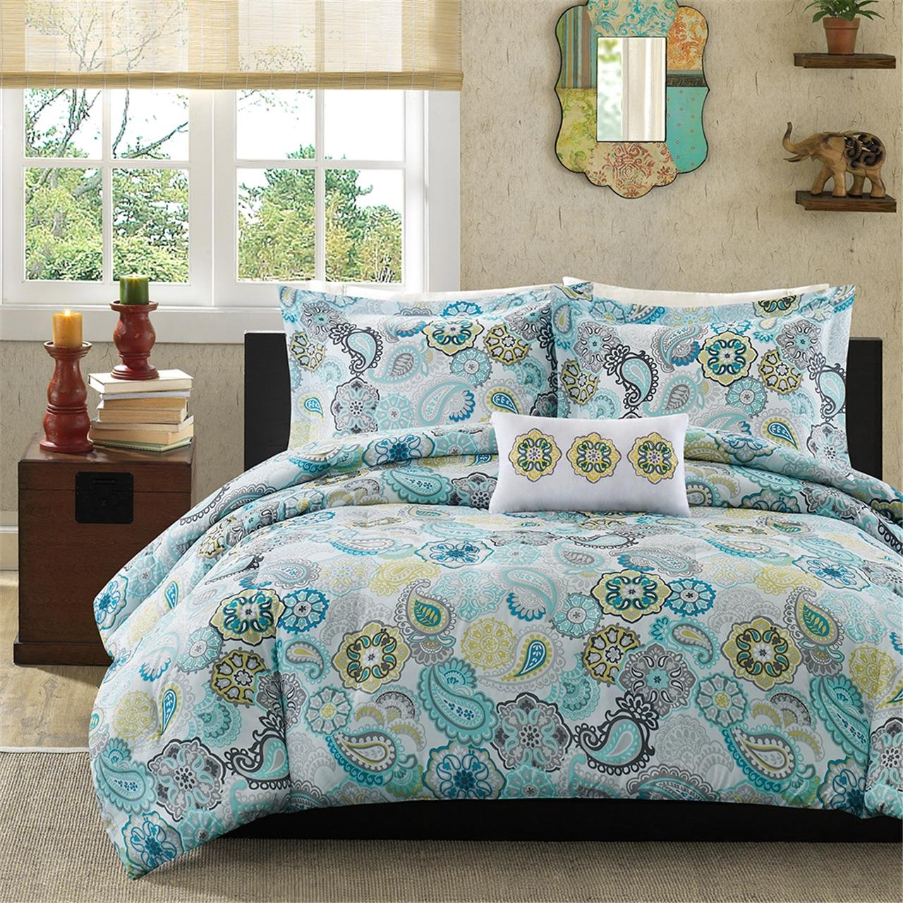 Wonderful Comrforter set light of paisley comforter with pillows and unique sidetable and nightlamps