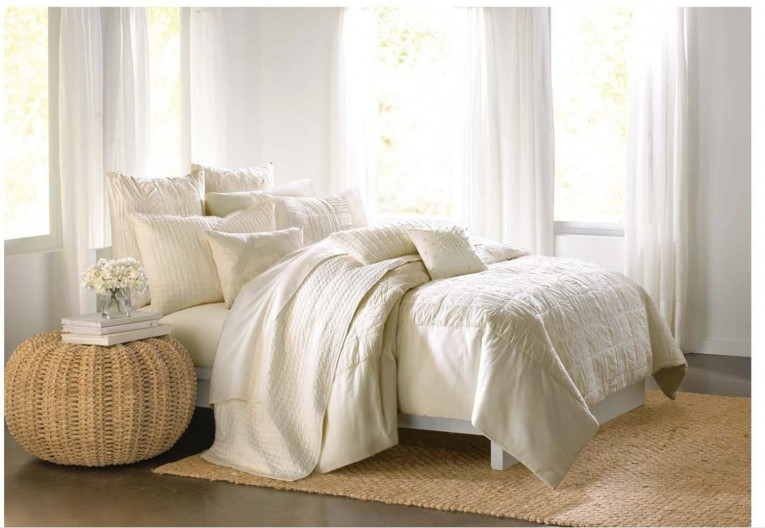 Wonderful Donna Karan Bedding With Cushion And Pillows Also Beautiful Duvet Cover And Sidetable And Luxury Wall Paint Color