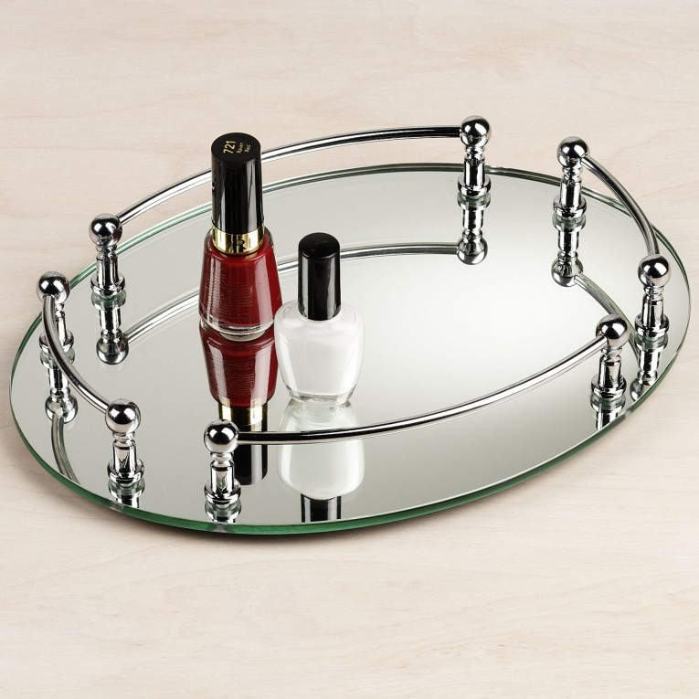 Alluring Glass Mirrored Vanity Tray For Dreeser