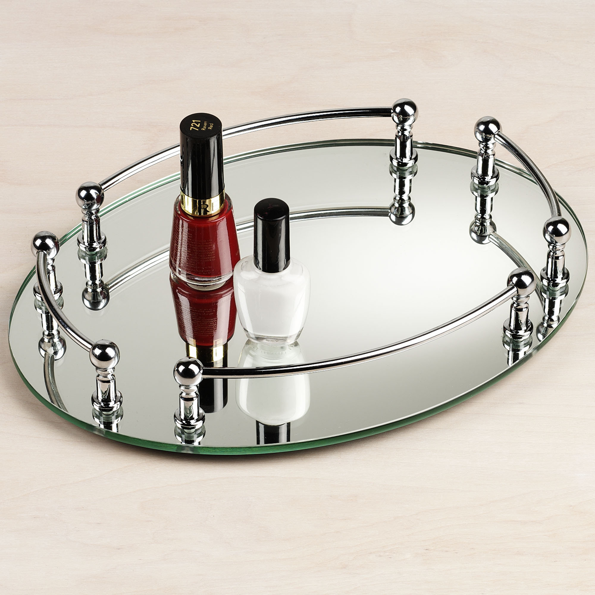 Beautiful Shines Mirrored Vanity Tray for Home Accesories Ideas: Alluring Glass Mirrored Vanity Tray For Dreeser
