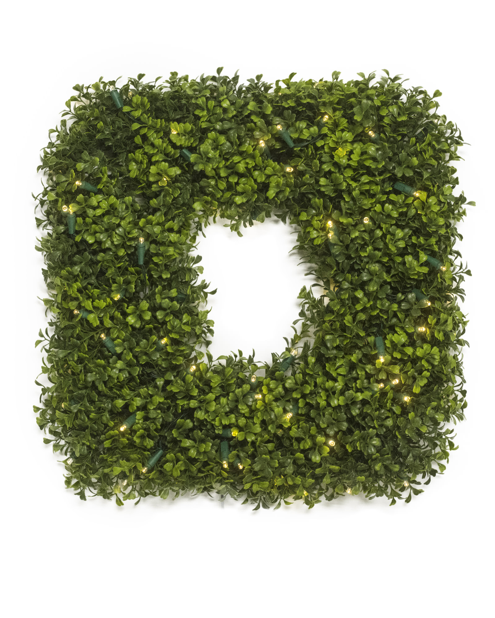 Interesting Artificial Boxwood Wreath with Simple Design for Exterior: Amazing Square Design Artificial Boxwood Wreath
