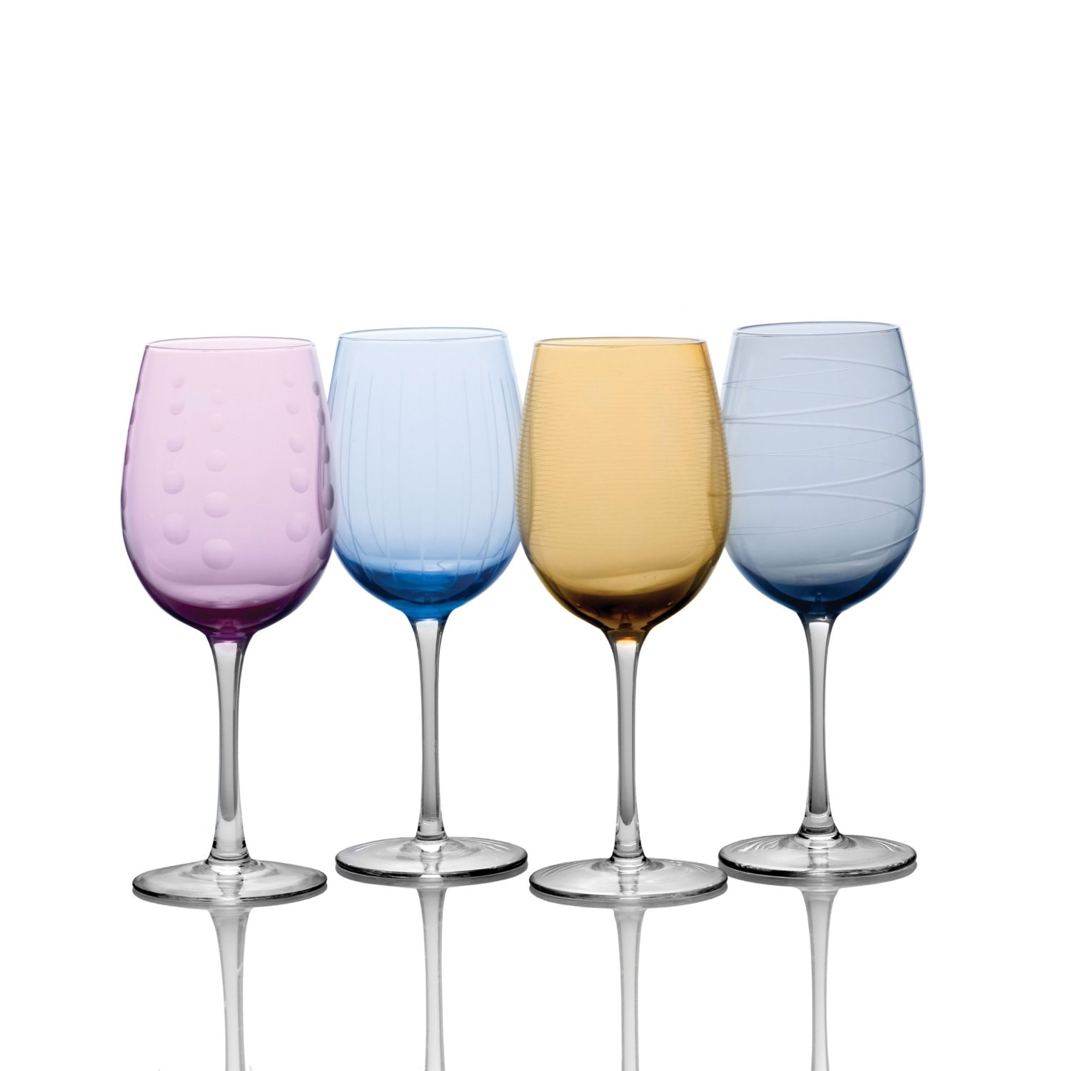 assorted color glass mikasa wine glasses