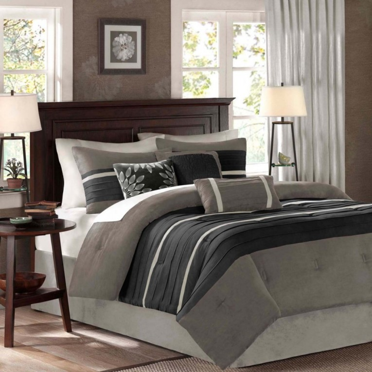 Awesome Night White Lamp And Chic Table Also Bedding Sets King