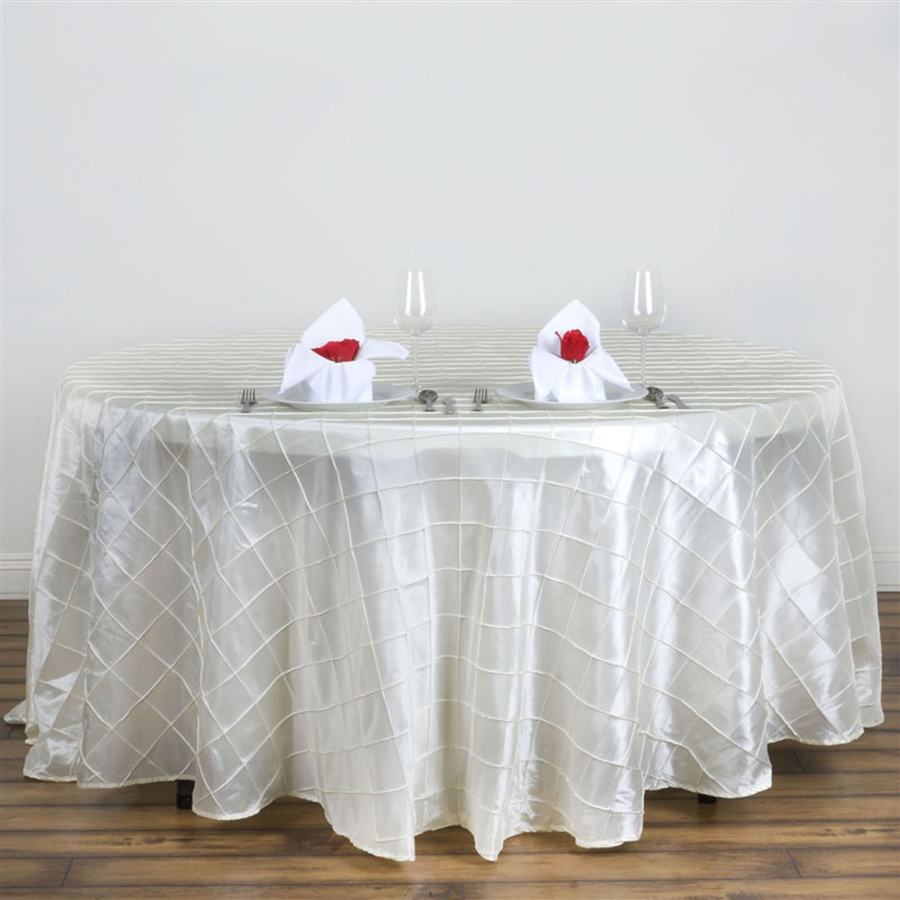 Beautiful White Satin 120 Round Tablecloth With Red Roses