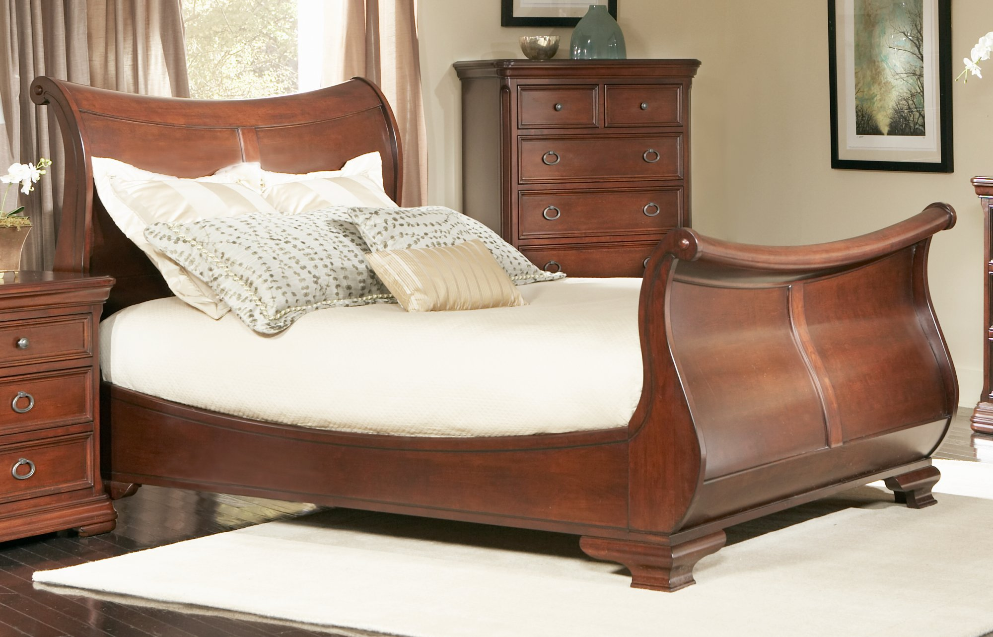 best headboars king sleigh bed with royal duvet cover and luxury sheets also unique area rug above laminate flooring ideas