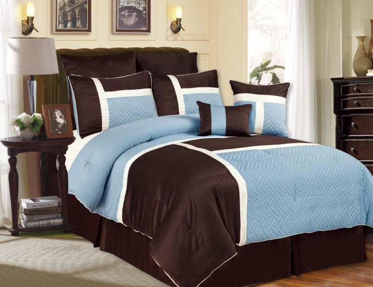 Big Table And Night Lamp Also Bedding Sets King
