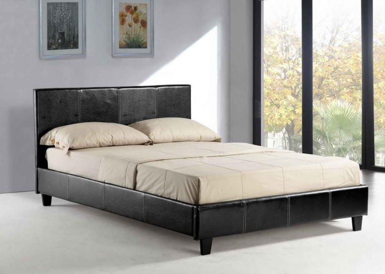 Big Window Glass And Leather Headboard Queen Size Platform Bed