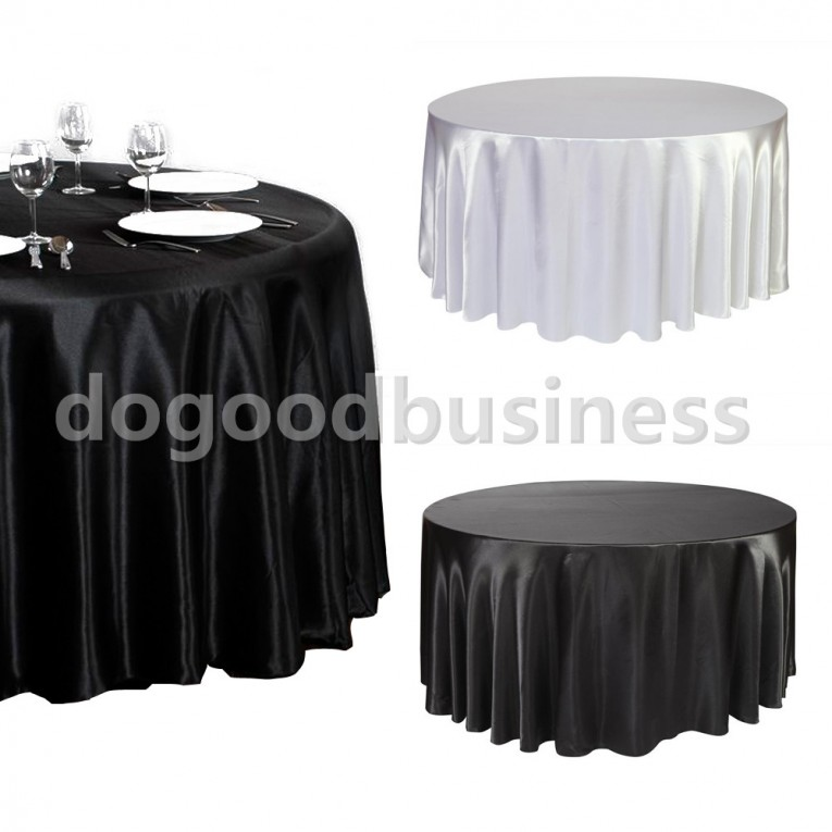 Black And White Colors 120 Round Tablecloth Satin Ideas
