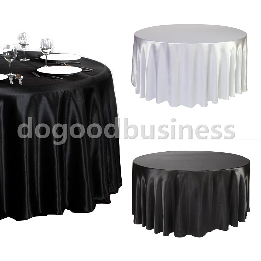Unique Colors 120 Round Tablecloth for Dining Room Furniture Ideas: Black And White Colors 120 Round Tablecloth Satin Ideas