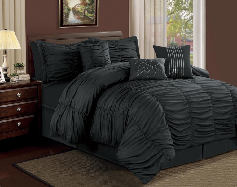 Black Comforted Duvet Cover And Sheets Ruffle Comforter