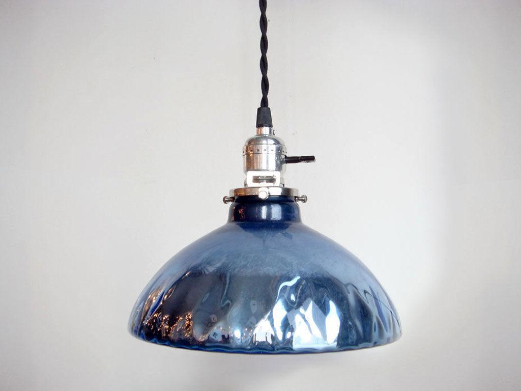 blue mini mercury glass pendant light