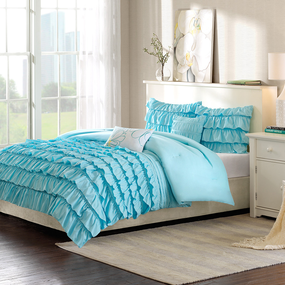 blue ocean duvet cover ruffle comforter with white sidetable