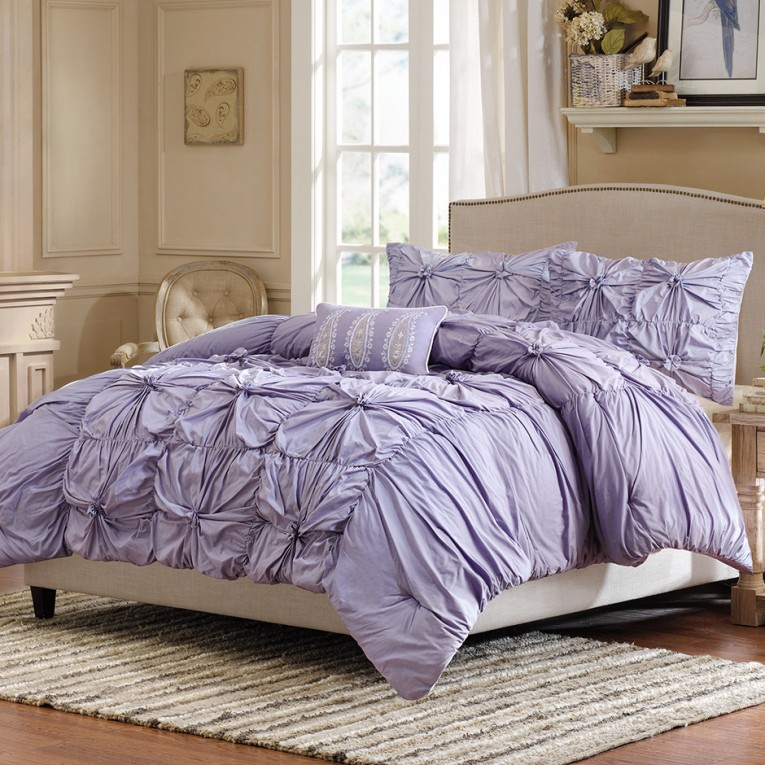 Bright Purple Pillow And Purple Ruffle Comforter Plus Rug