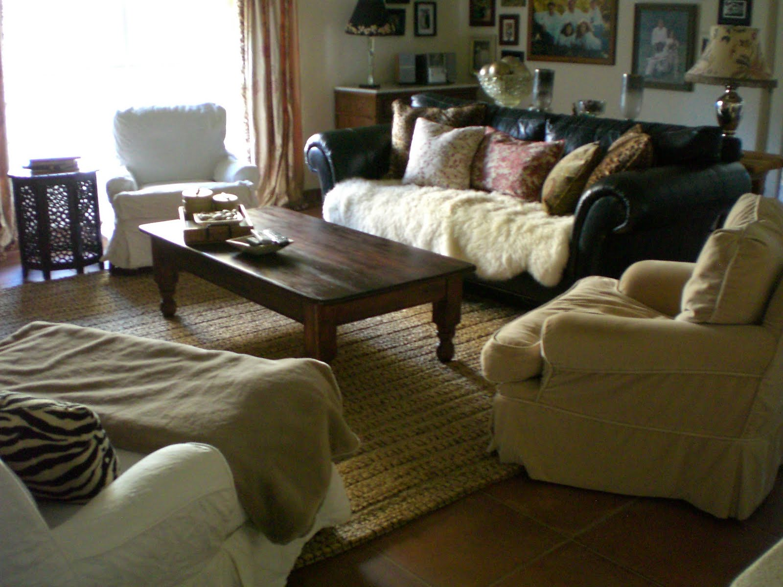 Brown Leather Sofa Pillows With Jute Rug And Black Sofa And Brown Sofa