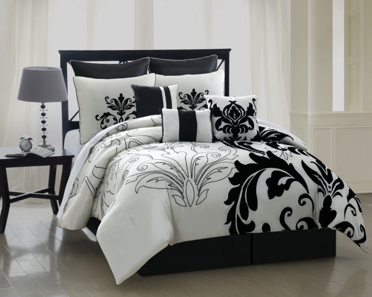 Cute Black And White Comforters For Teens With Big Table