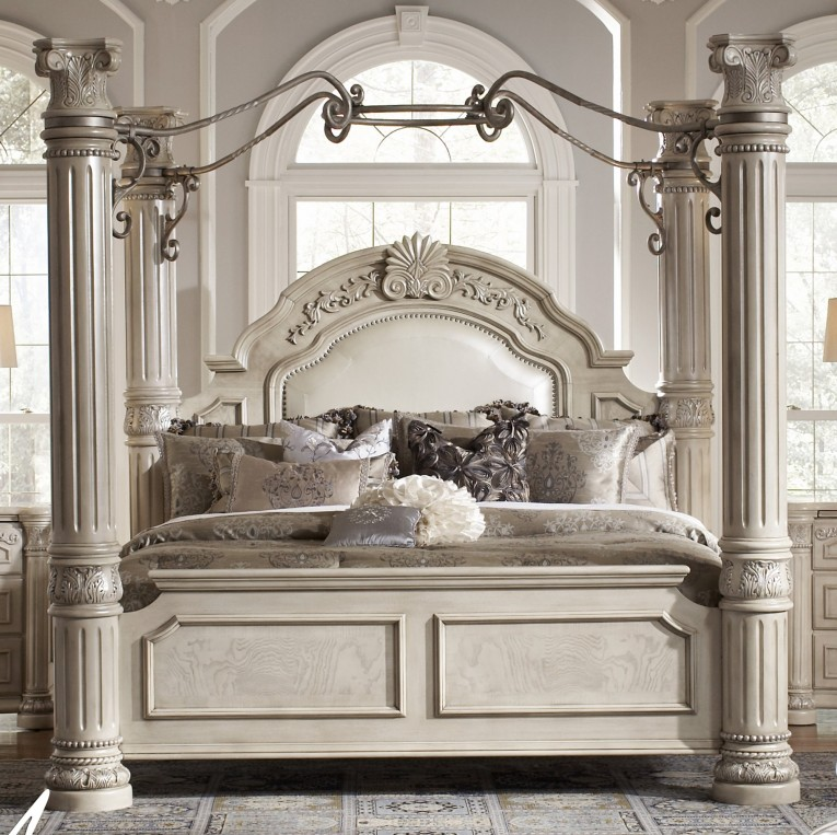 Cute King Size Canopy Bed White Rustice Theme Ideas