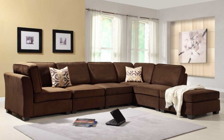 Dark Blight Brown Living Room Sectionals With Toss Pillows