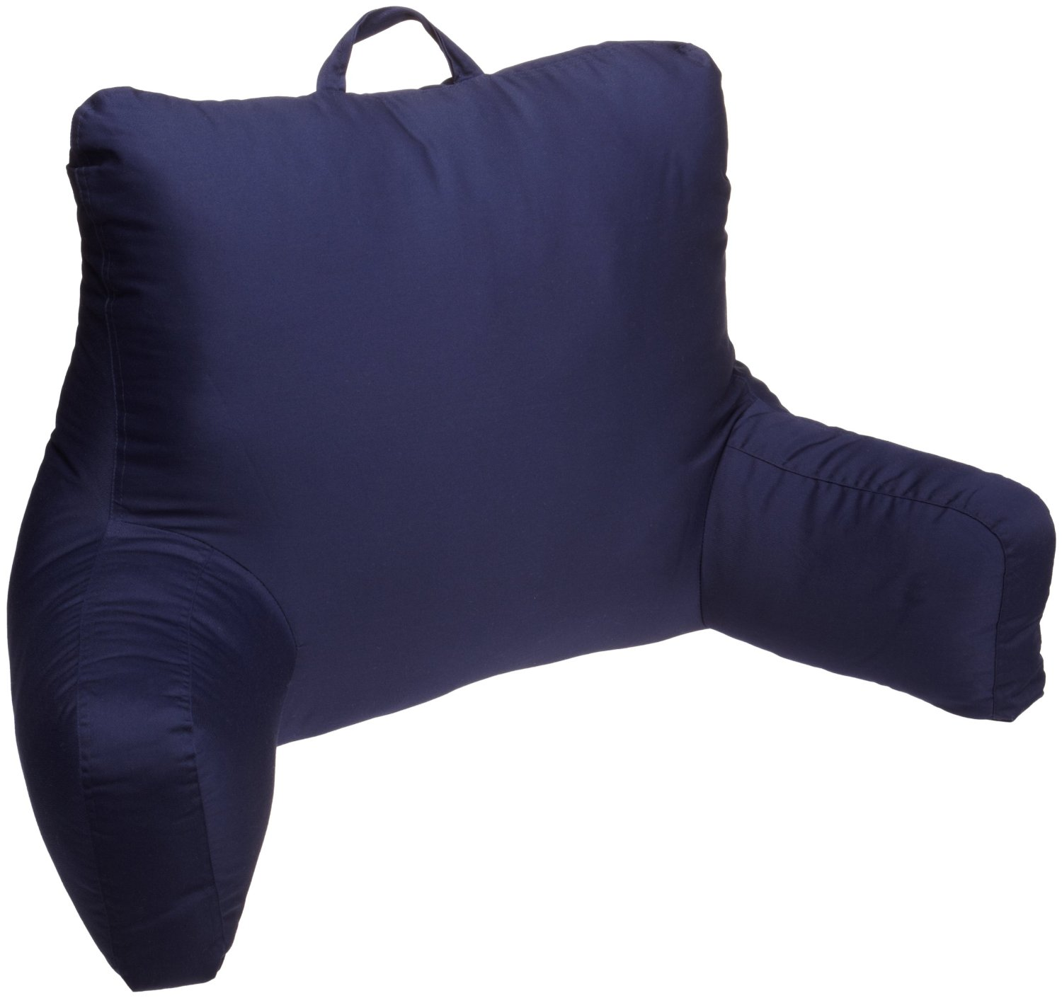 dark blue backrest pillow with arms