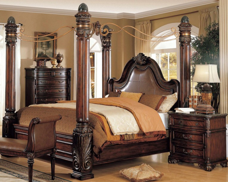 Dark Light Fashionable King Size Canopy Bed With Dresstable And Mirror