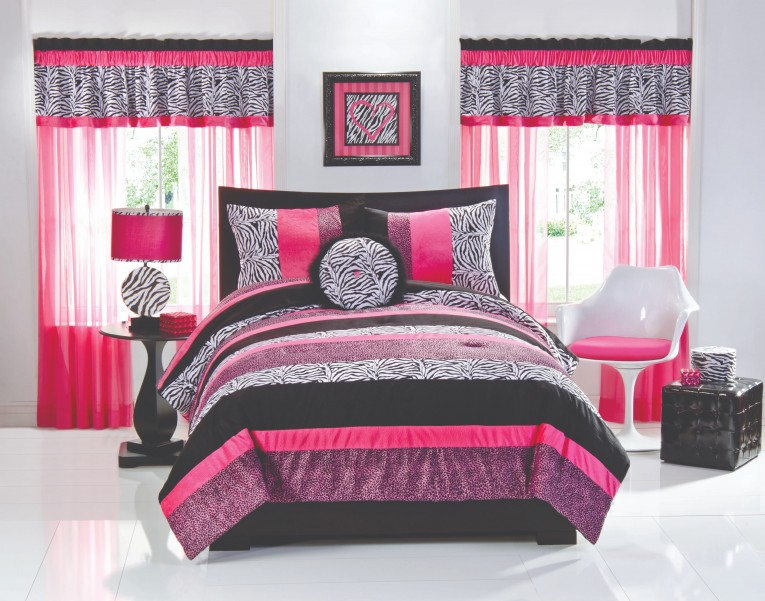 Dazzling Pink And Black Comforters For Teens Also Swivel Chairs