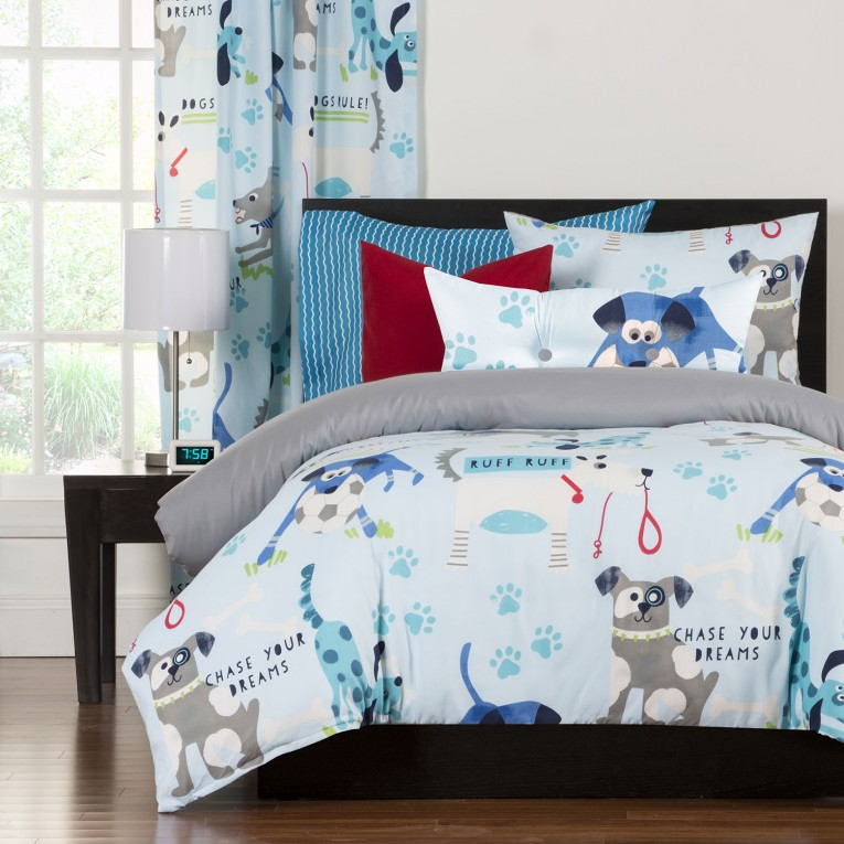 Dazzling White And Light Blue Natori Bedding