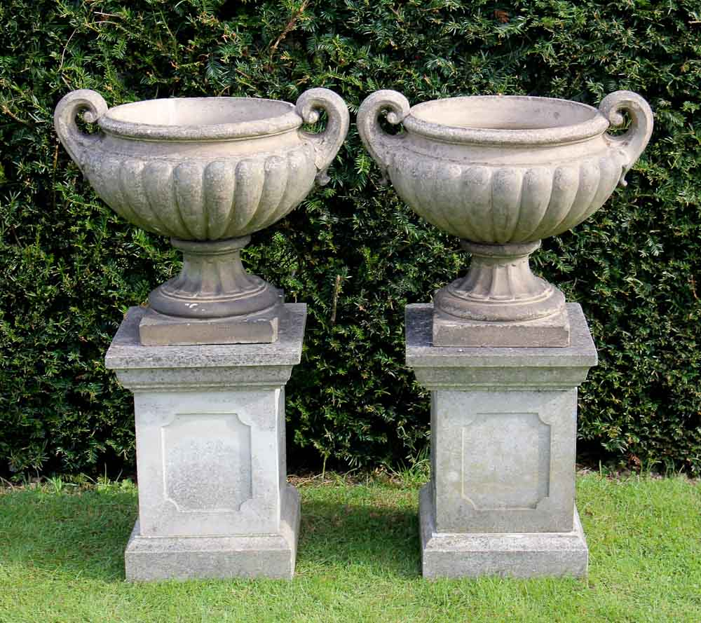 Exterior Beautiful Stone Urn Planters For Garden Or