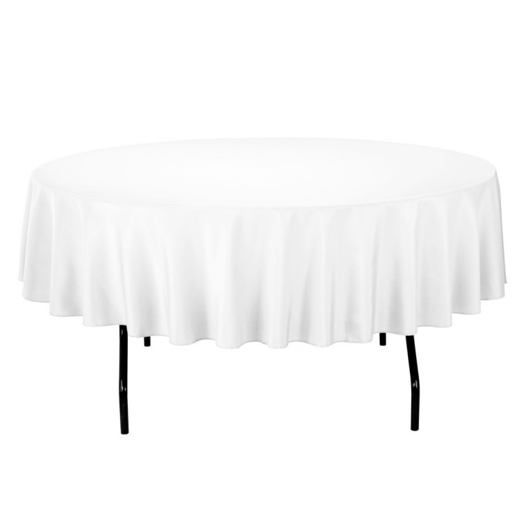 Economist White 120 Round Tablecloth With Black Iron Feet