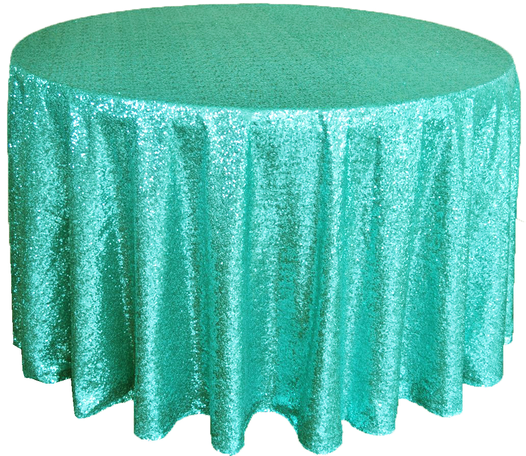 Fabulous Round Sequin 120 Round Tablecloth With Aqua And Tiffany Color