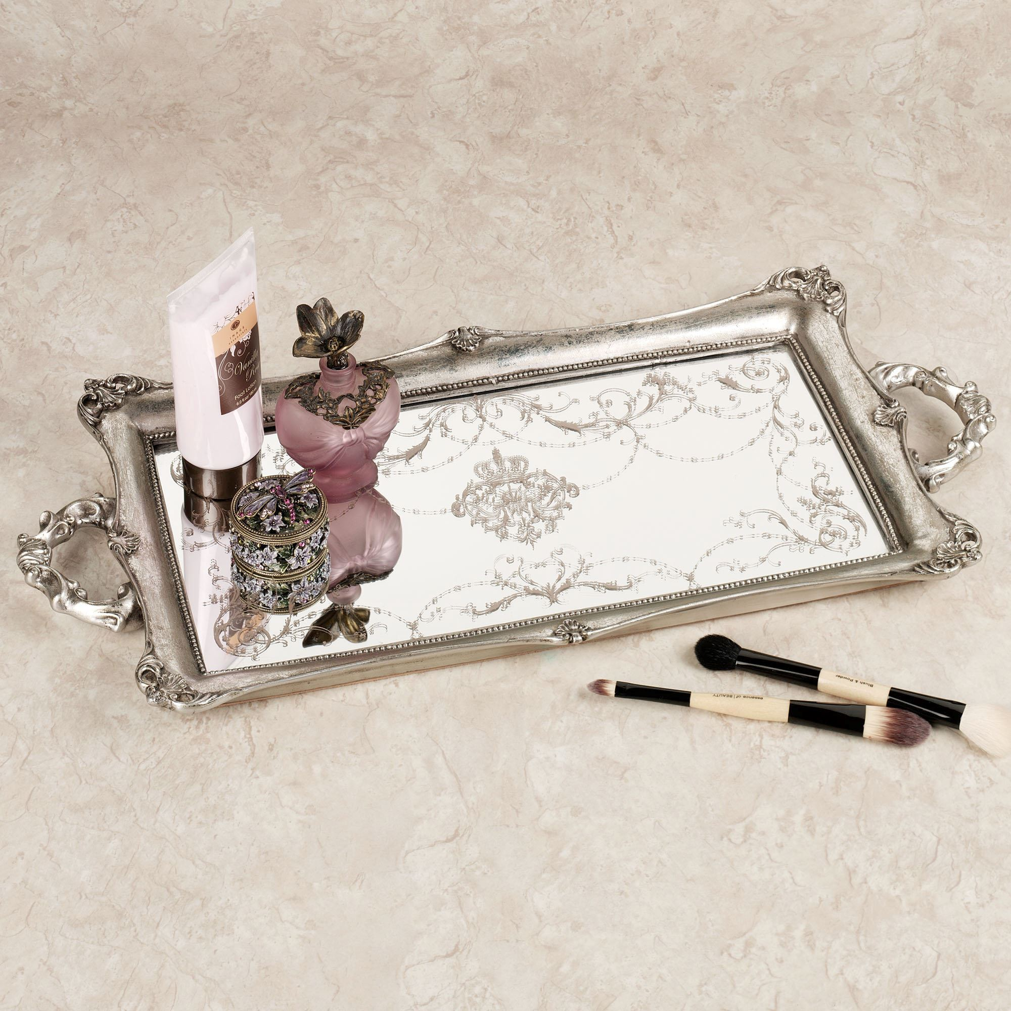 fascinating design mirrored vanity tray with decorating pattern mirrored vanity tray