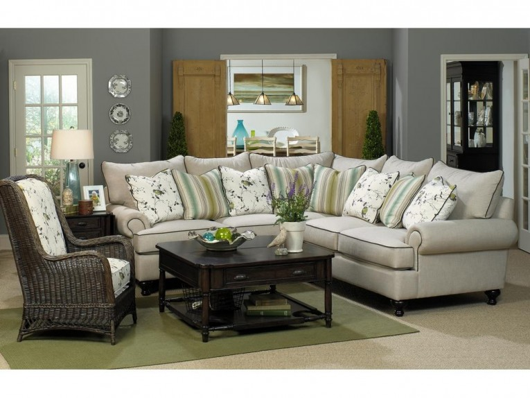 Fascinating Great White Living Room Sectionals With Cushion And Ceramic Floor Also Wicker Chair And Table