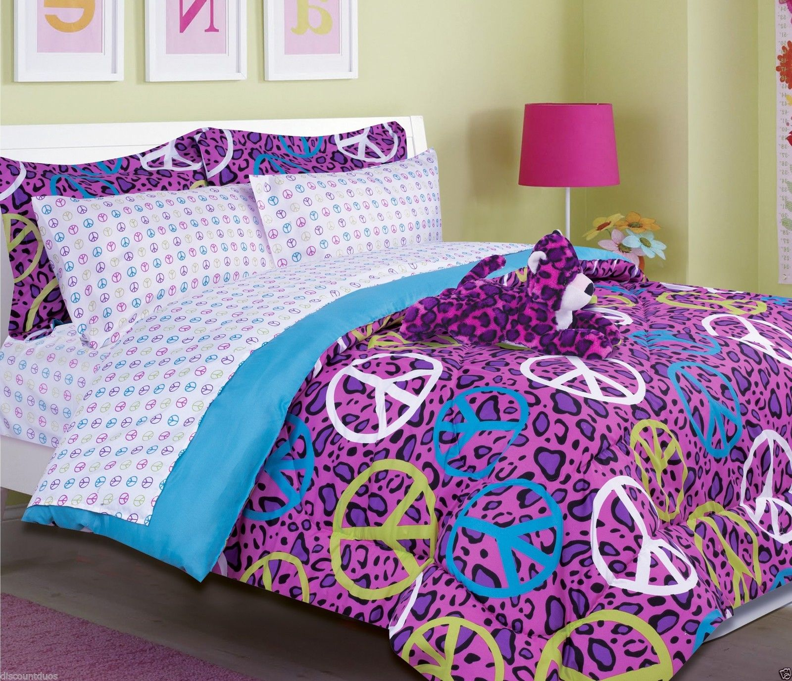 fascinating purple girls comforters for teens with purple lamp drum