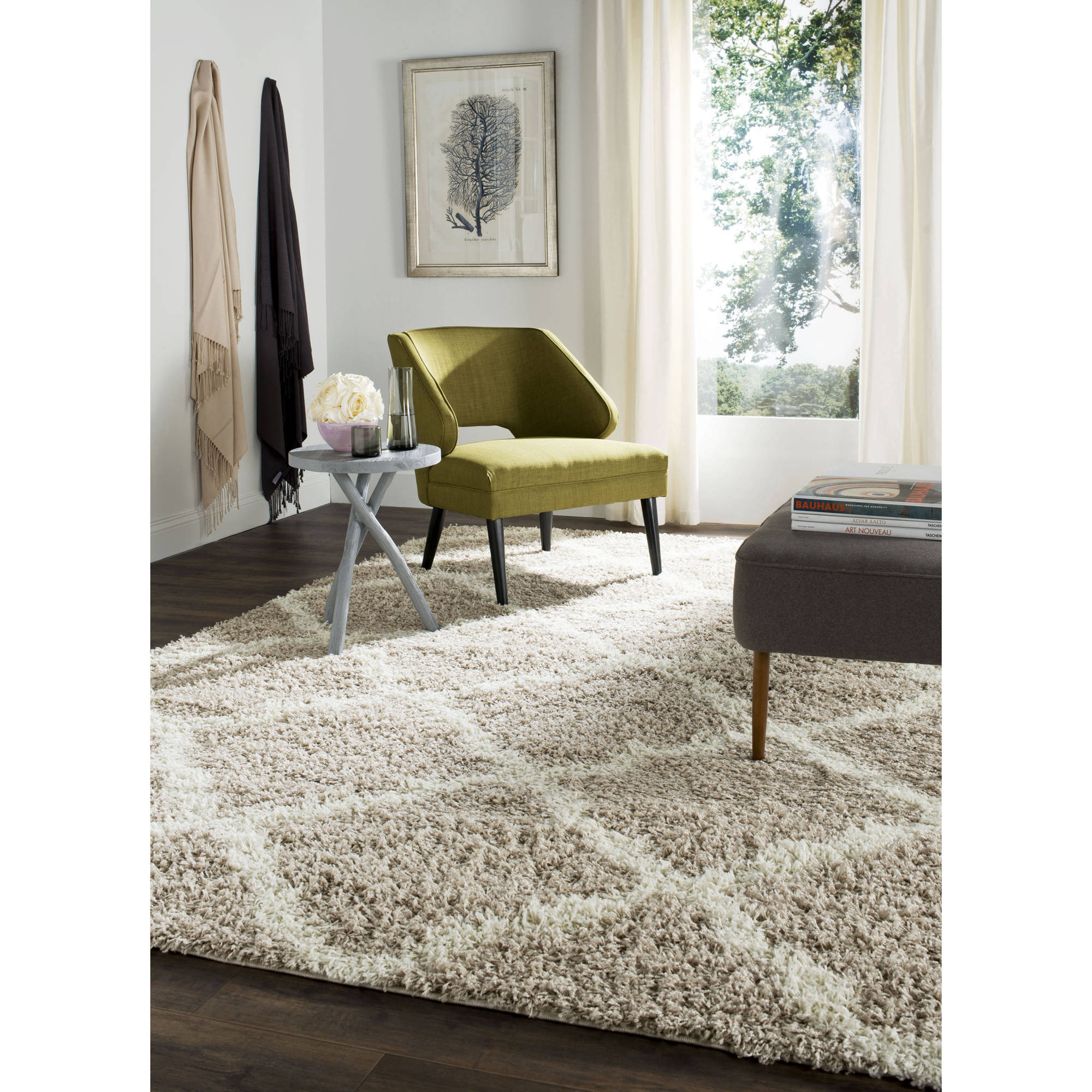 fashionable maples rugs with coffeetable and window curtain for living room