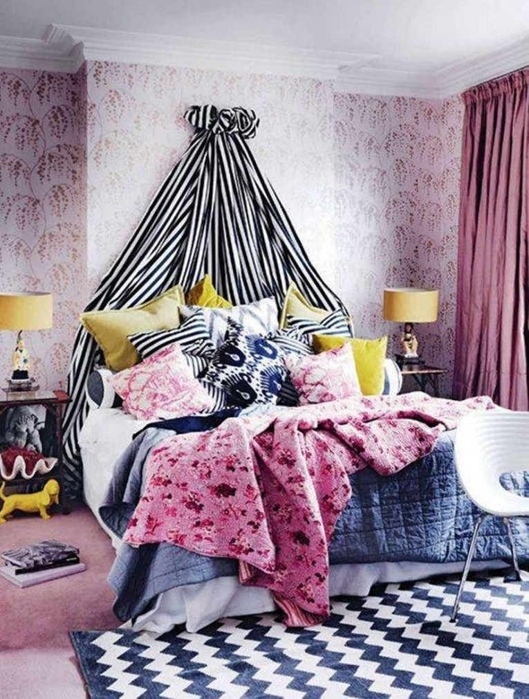 Bohemian Style Master Bedroom With Wallpaper And Striped Canopy Throughout Brilliant And Also Beautiful Bohemian Bedroom Pillows With Regard To Comfy