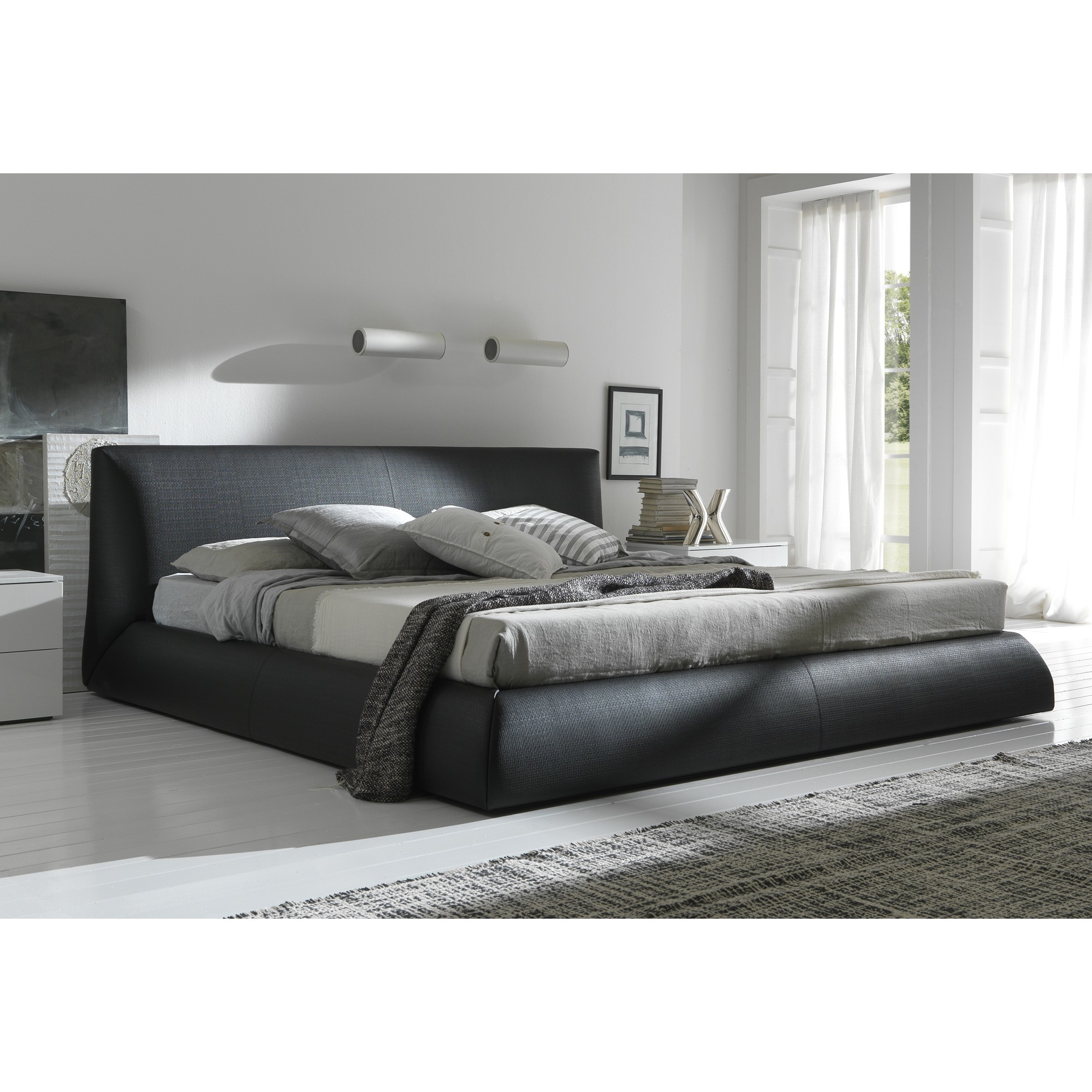 gray queen size platform bed with curtains