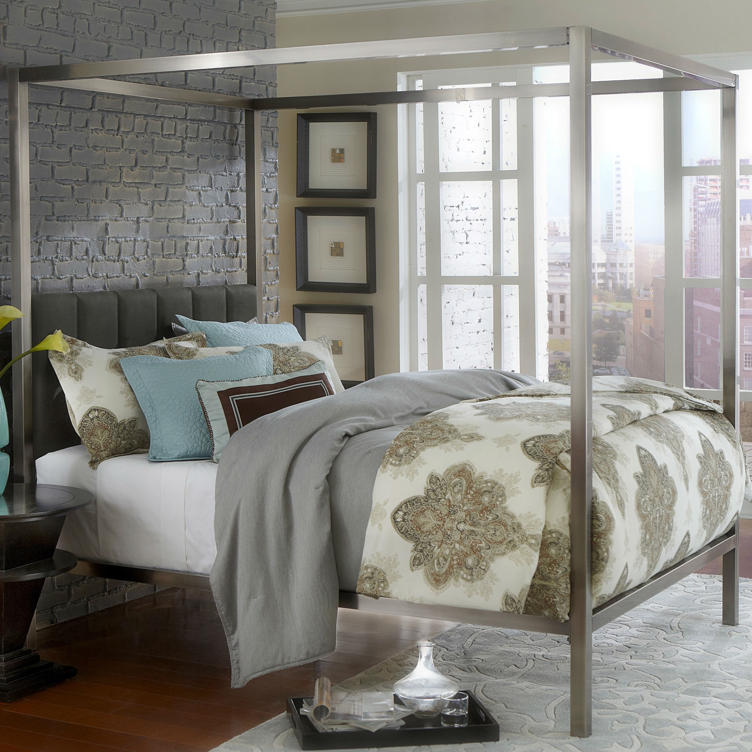 gray theme bedroom color king size canopy bed & Bedroom: Unique King Size Canopy Bed With Rug And Sheets