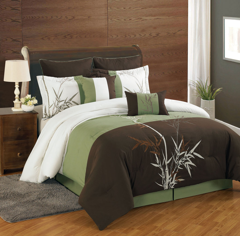 green bamboo bedding sets king with gray rug and laminate flooring