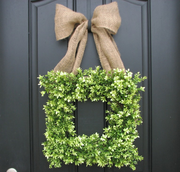Interesting Square Artificial Boxwood Wreath At Frontdoor
