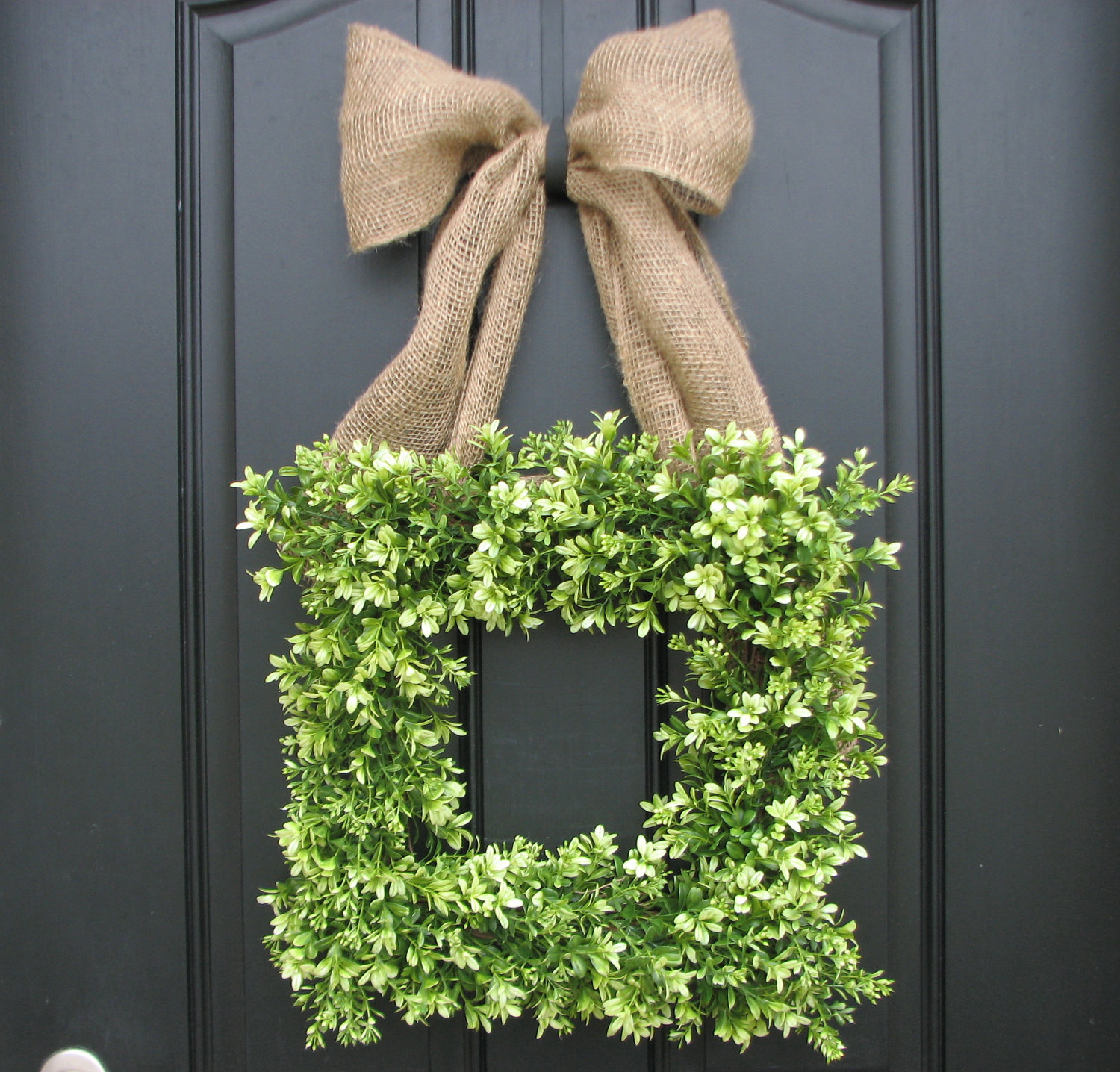 Interesting Artificial Boxwood Wreath with Simple Design for Exterior: Interesting Square Artificial Boxwood Wreath At Frontdoor