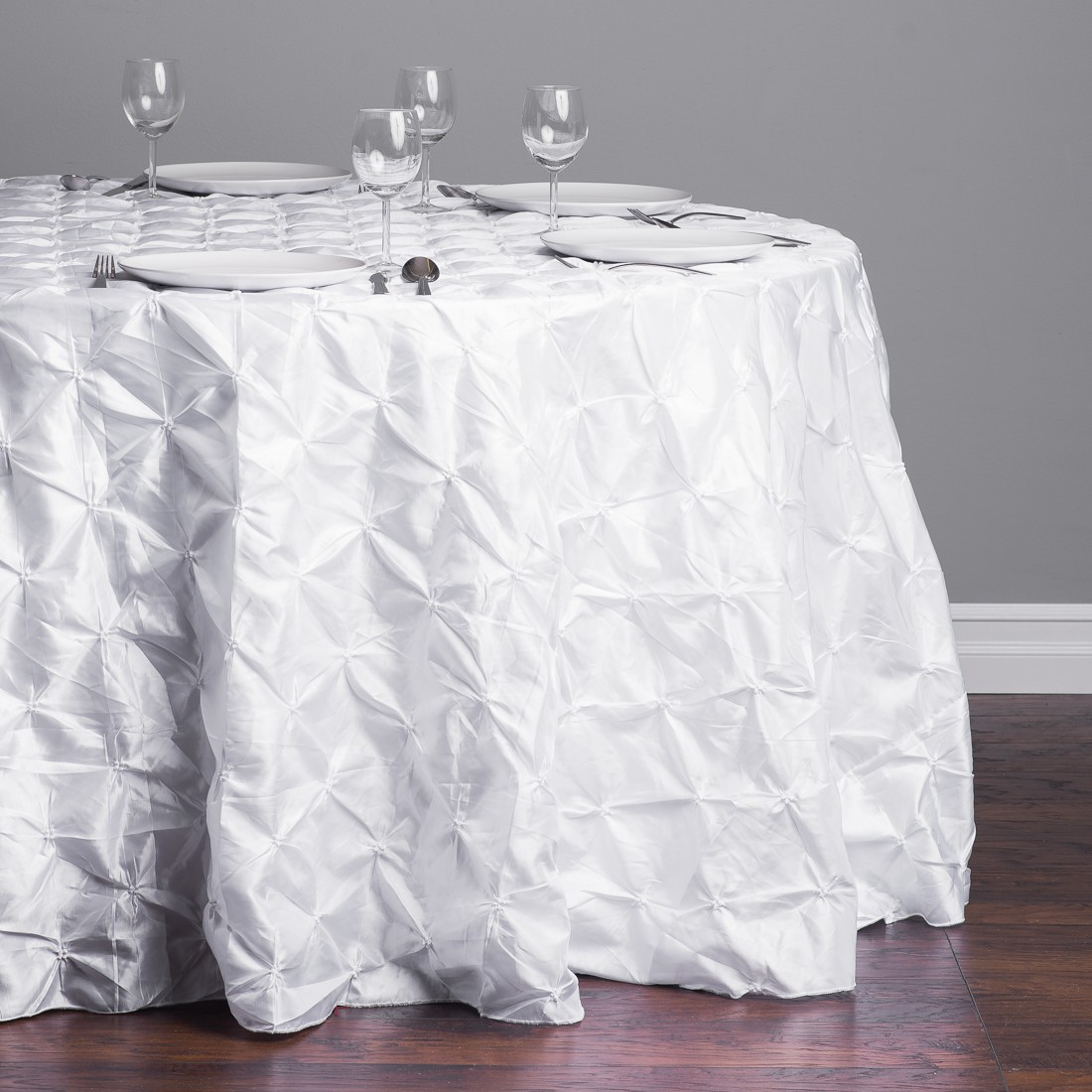 interesting white pinwheel 120 round tablecloth