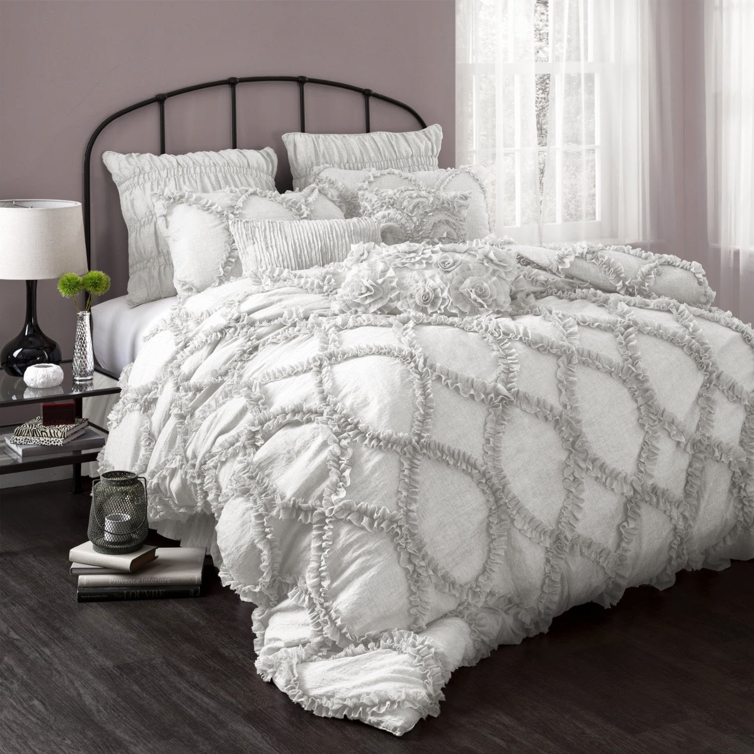 Home Decor White Lamp And White Sheets Ruffle forter