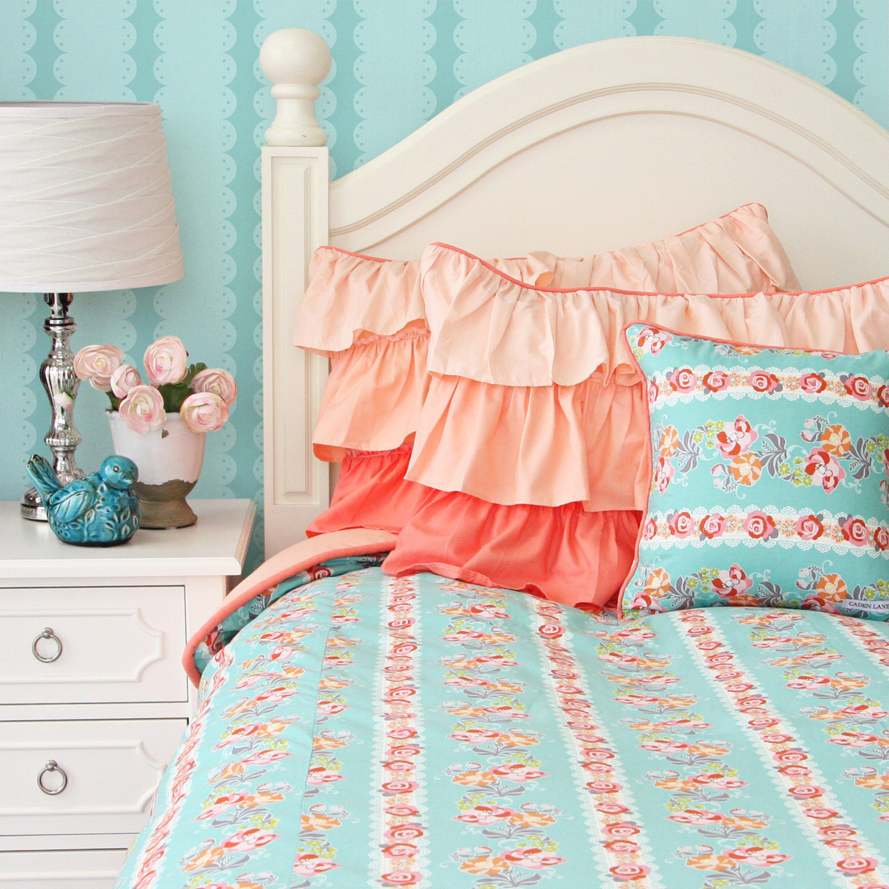 lovely cold turquoise natori bedding and sidetable