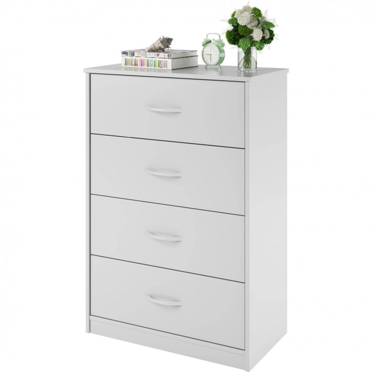Lovely White 4 Drawer Dresser With Vase