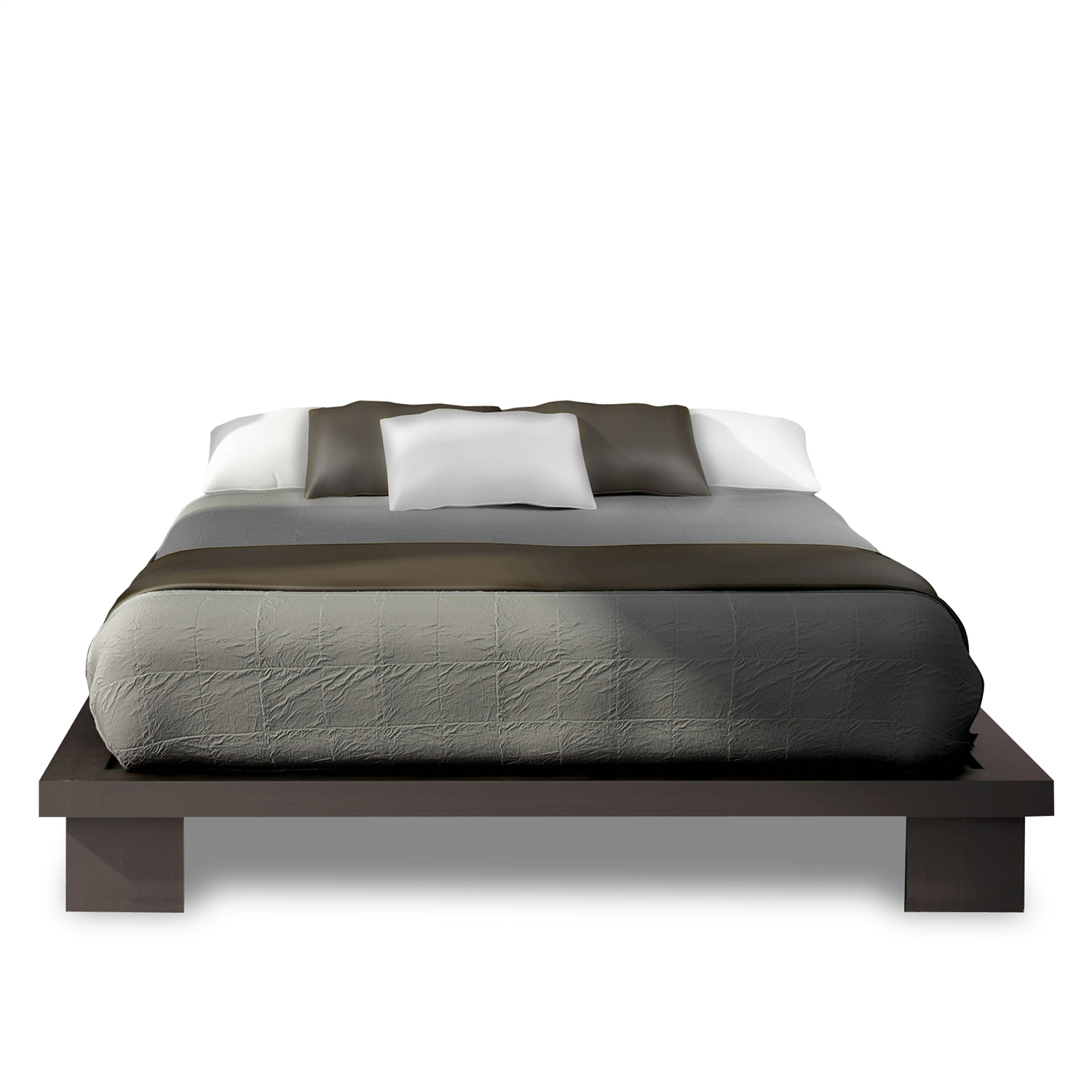 luxury bed queen size platform bed with gray color