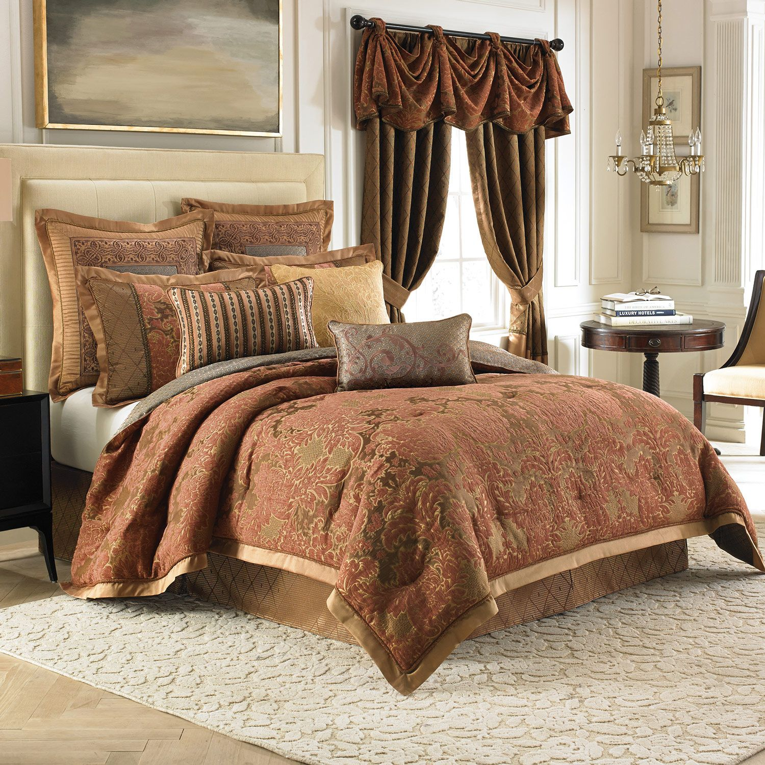 luxury golden bedding sets king with rug and curtain