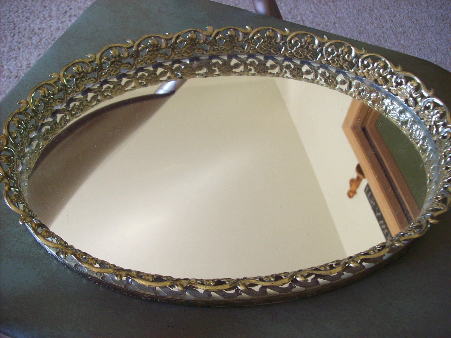 finish mirrored silver letitia plate tray vanity vanities gold barware english vintage