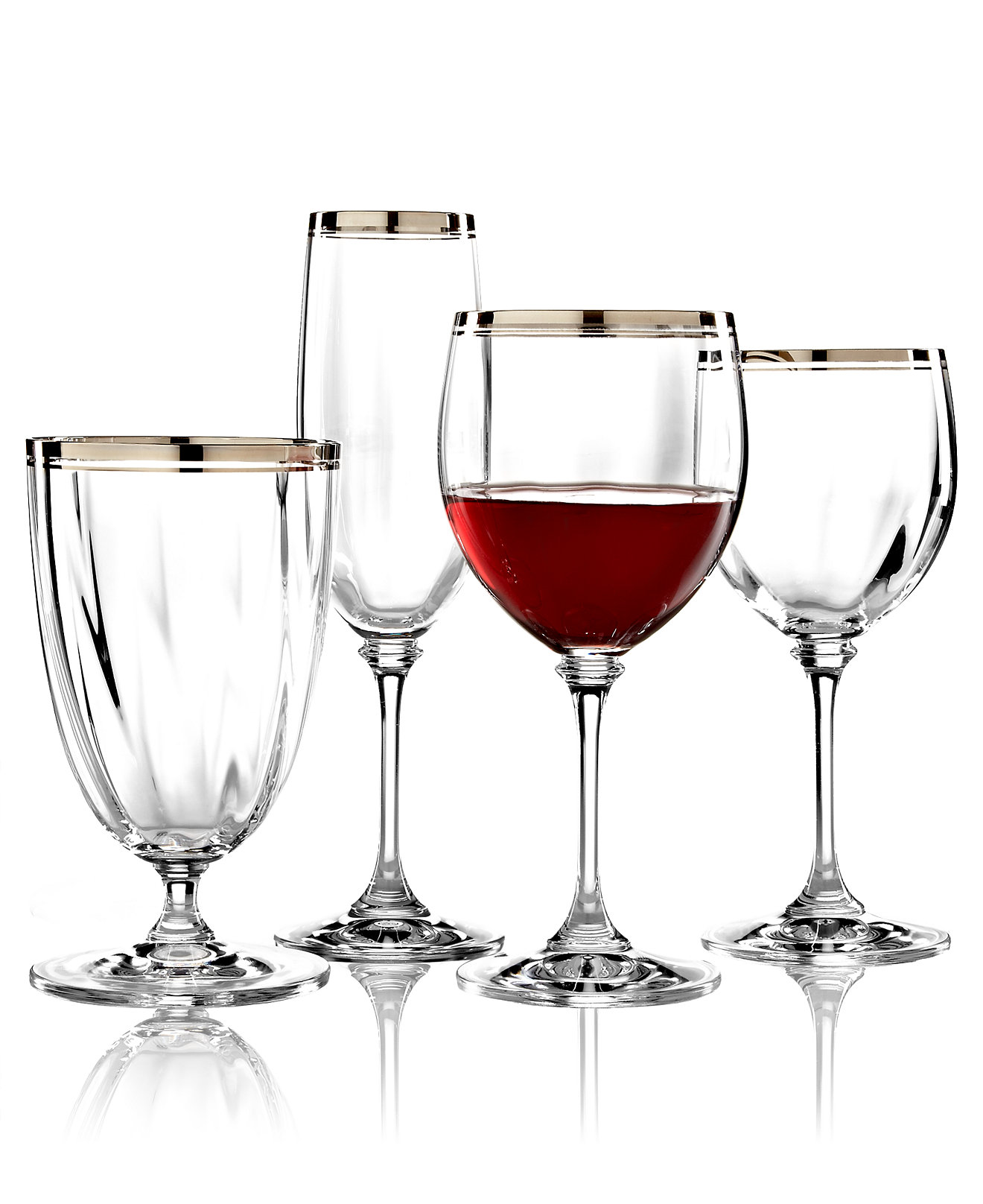 mikasa wine glasses with platinum for stemware
