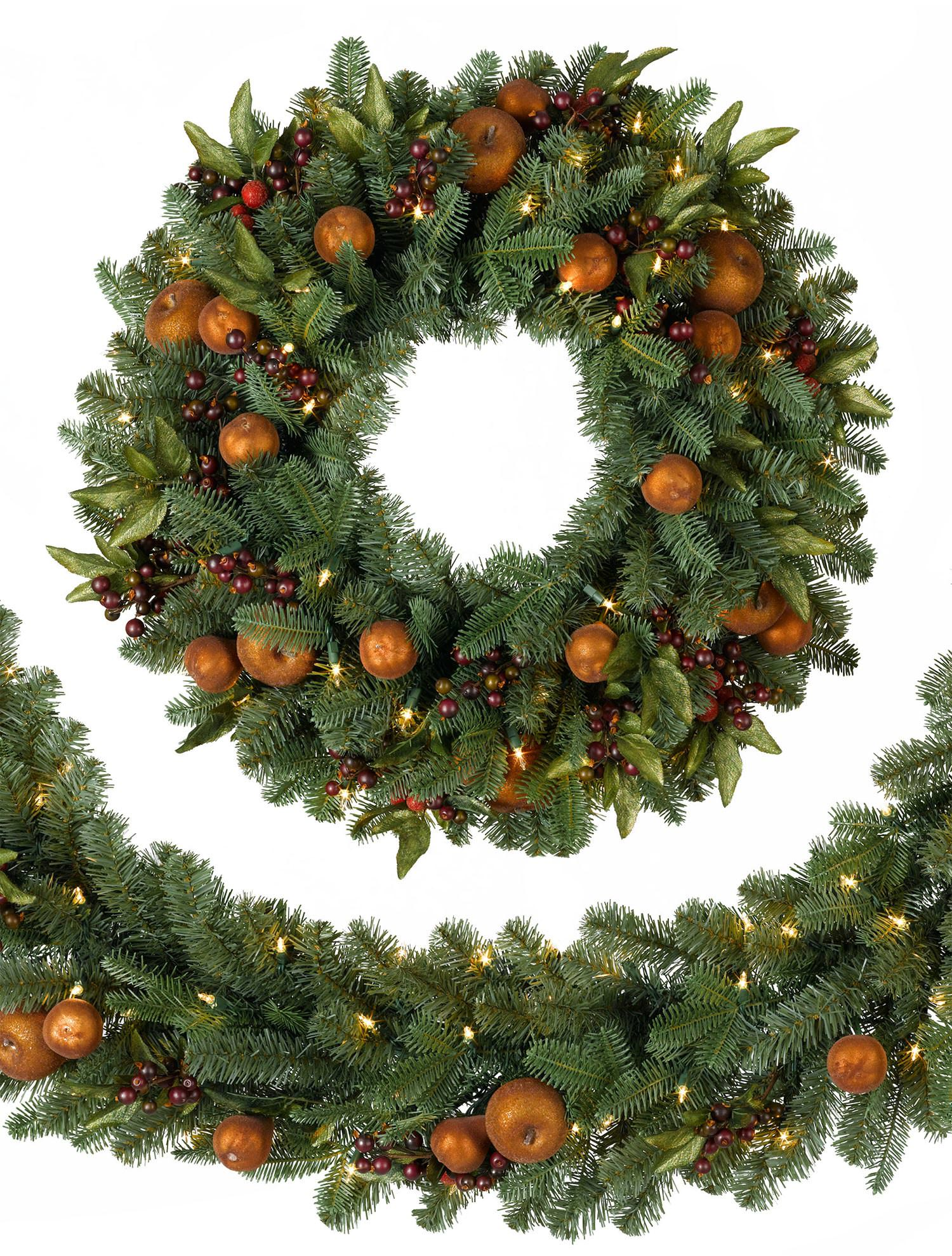 Nice Artificial Boxwood Wreath With Orchard Harvest Design