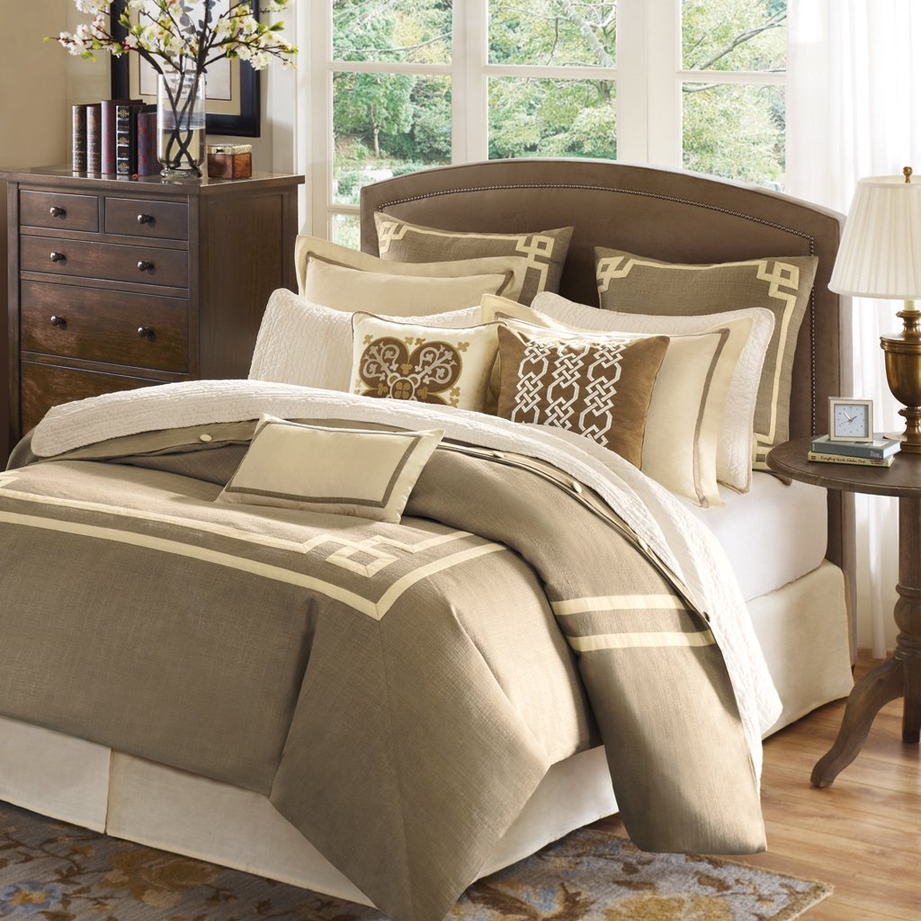 Nice Elegant Bedding Sets King With Beige And White