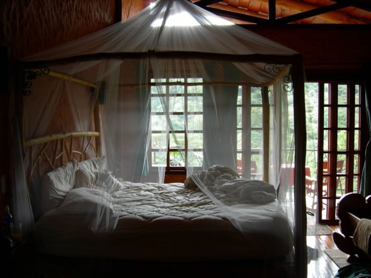 Nice King Size Canopy Bed With Chairs And Sliding Glass Door